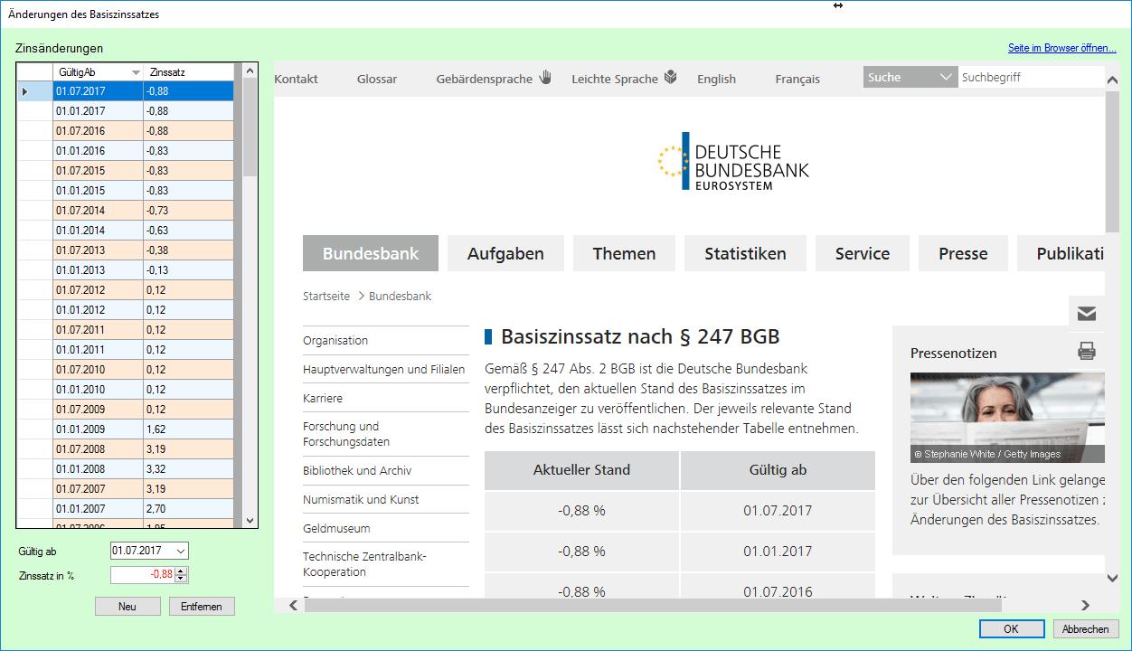 Screenshot: EZB Basiszinssätze bearbeiten