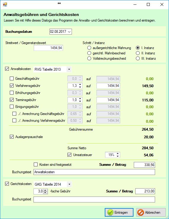 Screenshot: Berechnung von Gerichts- und Anwaltsgebühren