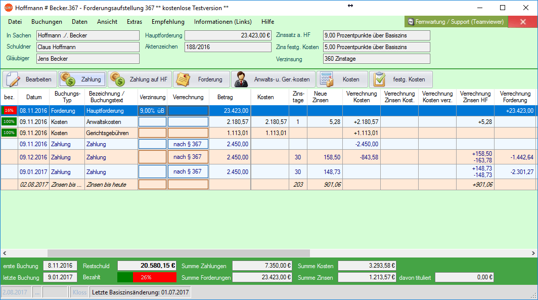 Screenshot: Hauptfenster Software Forderungsaufstellung 367
